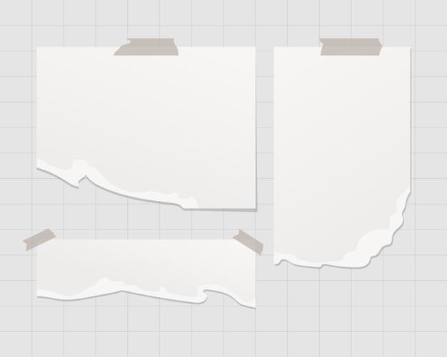 Modelo de placa de humor. vazias folhas de papel branco na parede. isolado. modelo de design. ilustração realista.