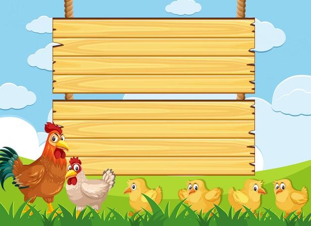 Modelo de placa de madeira com galinhas na fazenda