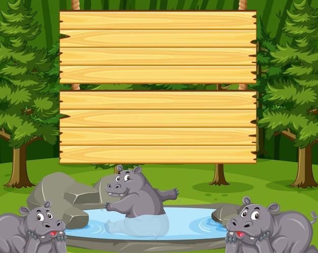Modelo de placa de madeira com hipopótamo fofo no parque