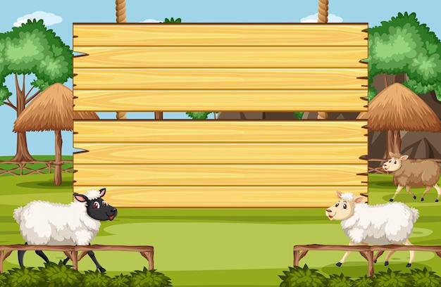 Modelo de placa de madeira com muitas ovelhas na fazenda