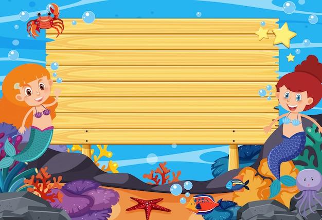 Modelo de placa de madeira com sereias e peixes no fundo do mar