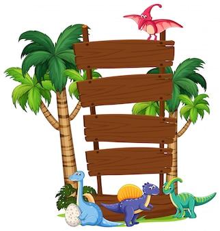 Modelo de placa de madeira de dinossauro