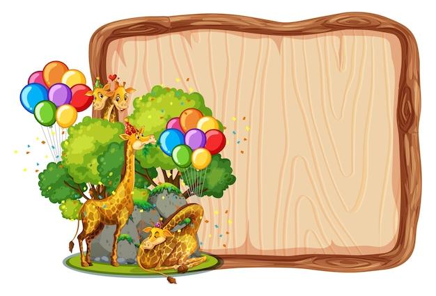 Modelo de placa de madeira em branco com girafas em tema de festa isolado