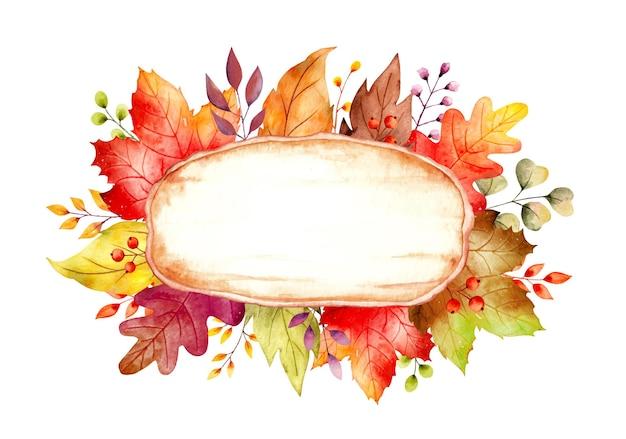 Modelo de placa de madeira rústica em aquarela com folhas de outono