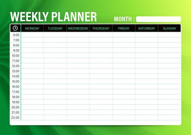 Modelo de planejador de agenda semanal simples