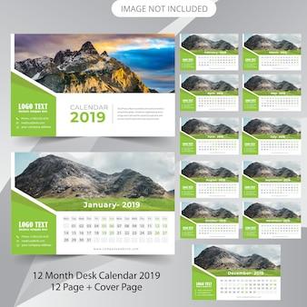 Modelo de planejador de calendário de mesa 2019