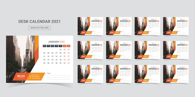 Modelo de planejador de calendário de mesa 2021