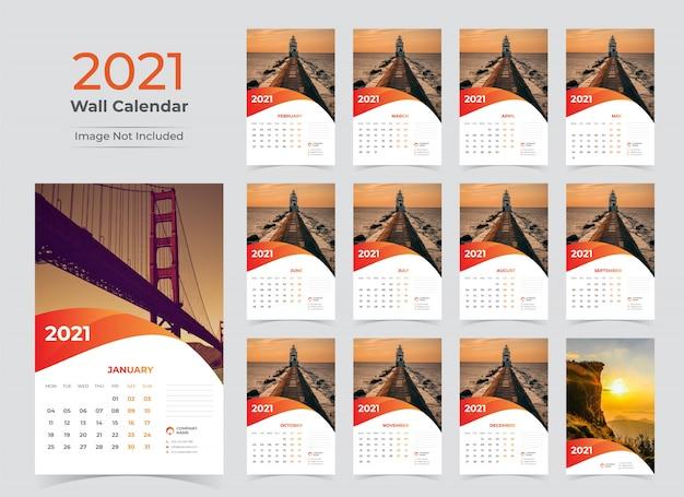 Modelo de planejador de calendário de parede para 2021 ano