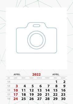Modelo de planejador de calendário de parede para abril de 2022, semana começa no domingo.