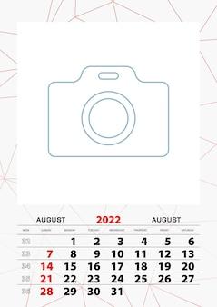 Modelo de planejador de calendário de parede para agosto de 2022, semana começa no domingo.
