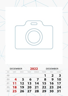 Modelo de planejador de calendário de parede para dezembro de 2022, semana começa no domingo.