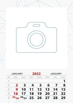 Modelo de planejador de calendário de parede para janeiro de 2022, semana começa no domingo.