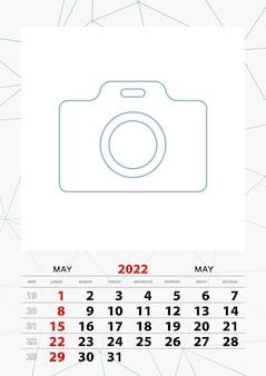 Modelo de planejador de calendário de parede para maio de 2022, semana começa no domingo.