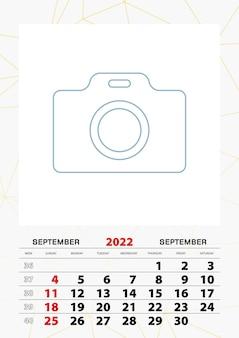 Modelo de planejador de calendário de parede para setembro de 2022, semana começa no domingo.
