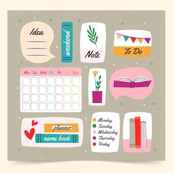 Modelo de planejador de diário com marcadores com diferentes elementos desenhados