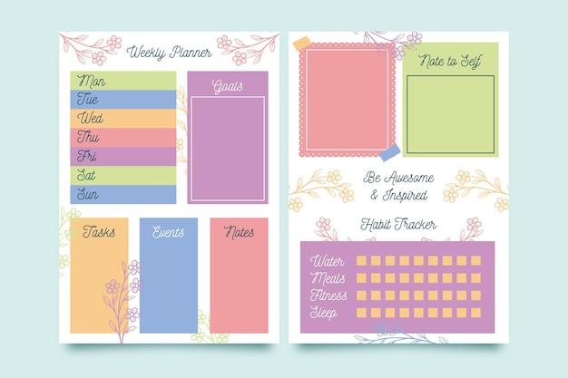 Modelo de planejador de diário com marcadores com diferentes elementos