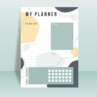 Modelo de planejador de diário com marcadores com diferentes formas