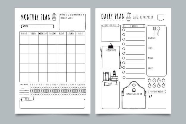 Modelo de planejador de diário com marcadores esboçado