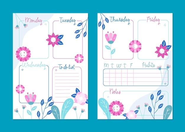 Modelo de planejador de diário com marcadores florais