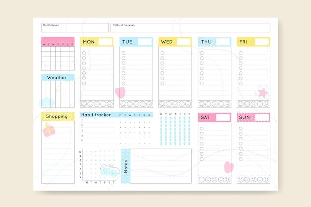 Modelo de planejador de diário com marcadores minimalista