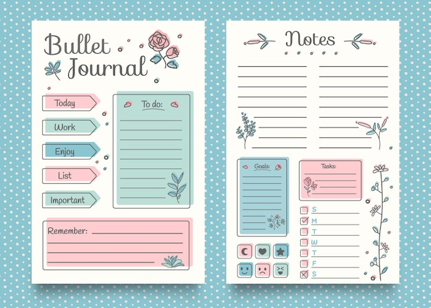 Modelo de planejador de diário com marcadores