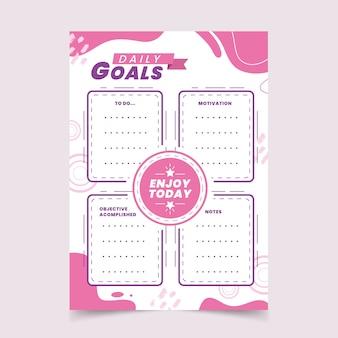 Modelo de planejador de metas de diário com marcadores