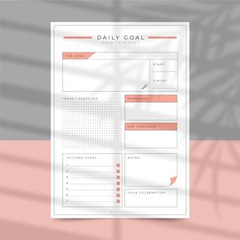 Modelo de planejador de metas diárias minimalista