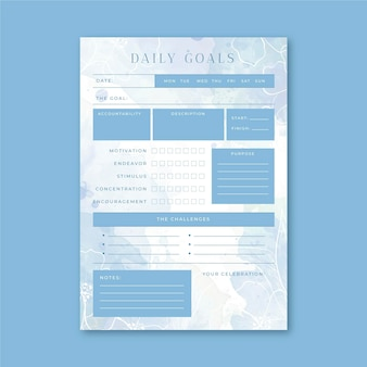 Modelo de planejador de metas diárias