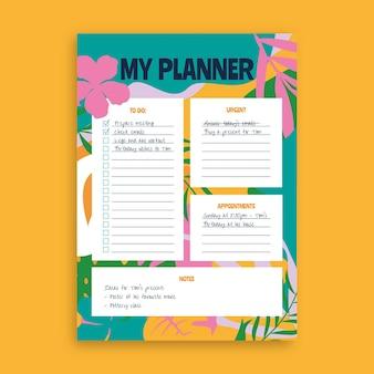 Modelo de planejador de plantas exóticas coloridas