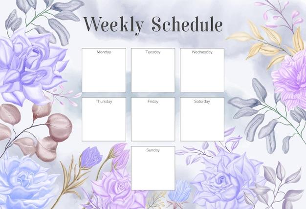 Modelo de planejador de programação semanal com bela moldura floral em aquarela