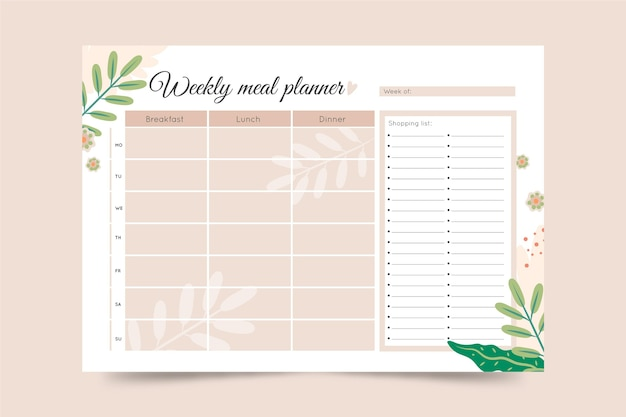 Modelo de planejador de refeição minimalista com folhas