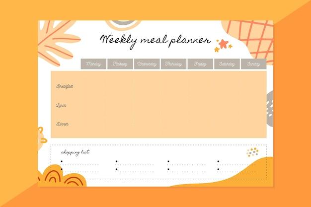 Modelo de planejador de refeição semanal