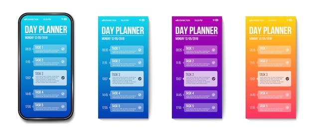 Modelo de planejador de telefone dia, tarefa de calendário feito.