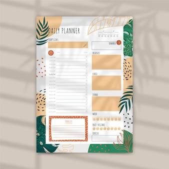 Modelo de planejador diário com folhas