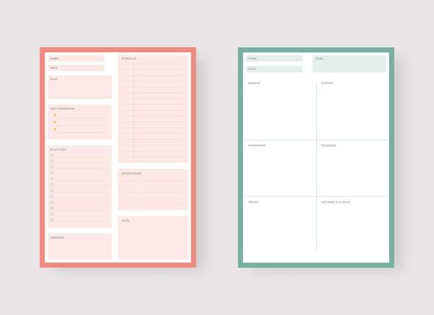 Modelo de planejador diário e semanal conjunto de planejador e lista de tarefas