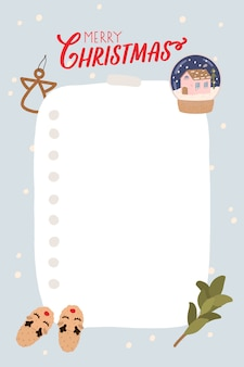 Modelo de planejador em estilo de natal. organizador e agendamento com local para anotações, lista de afazeres, lista de desejos. ilustração vetorial