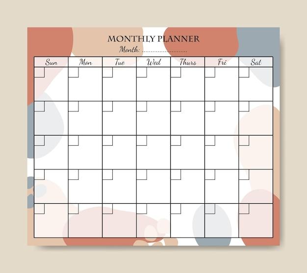 Modelo de planejador mensal abstrato desenhado à mão para impressão