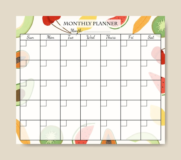 Modelo de planejador mensal com ilustração de frutas fofas desenhadas à mão