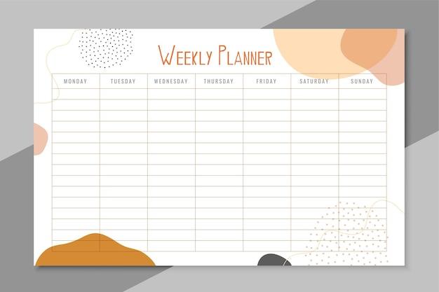 Modelo de planejador por uma semana