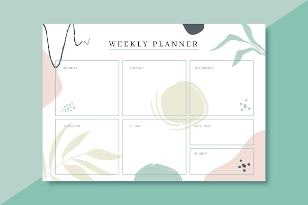 Modelo de planejador semanal colorido