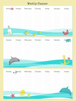 Modelo de planejador semanal com animais piratas