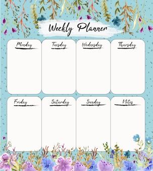 Modelo de planejador semanal com aquarela floral