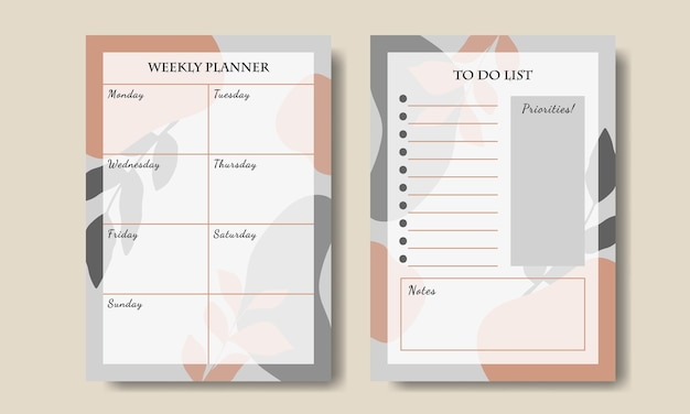 Modelo de planejador semanal com fundo abstrato laranja cinza para impressão