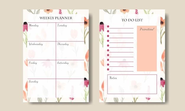 Modelo de planejador semanal com fundo de aquarela design de flores silvestres para impressão