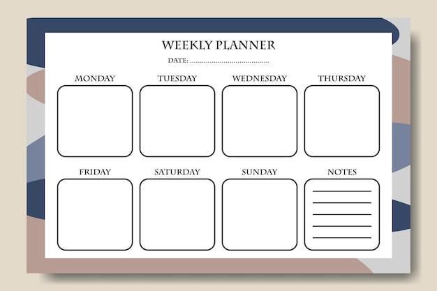 Modelo de planejador semanal com fundo de forma abstrata desenhado à mão