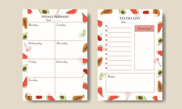Modelo de planejador semanal com fundo de ilustração de frutas para impressão