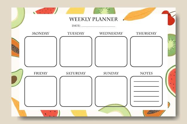 Modelo de planejador semanal com ilustração de frutas desenhadas à mão