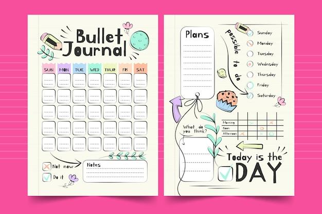 Modelo de planejador semanal de diário com marcadores