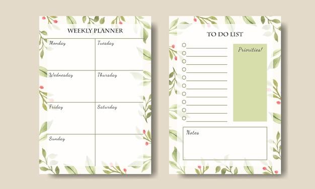 Modelo de planejador semanal de folha de planta verde em aquarela para impressão