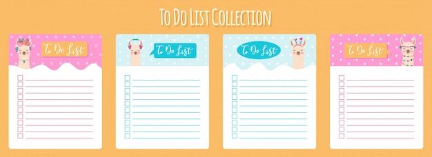 Modelo de planejador semanal e diário escandinavo com lhama bonito. organizador e agenda com notas e lista de tarefas.